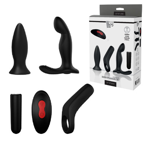 KIT 5 PIEZAS DUSKY PLEASURE RECARGABLE NEGRO